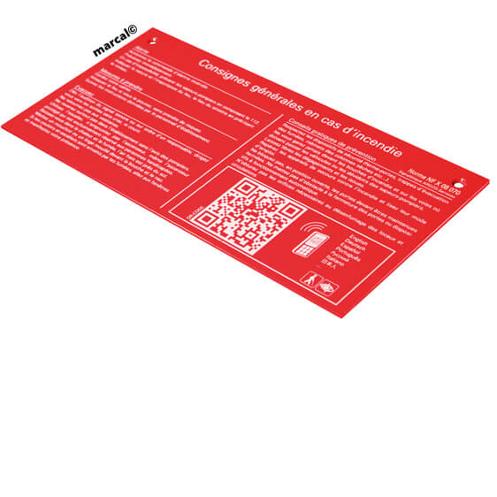 red fire safety instruction plate accessible QR code, NFX 08-070 | consign© marcal
