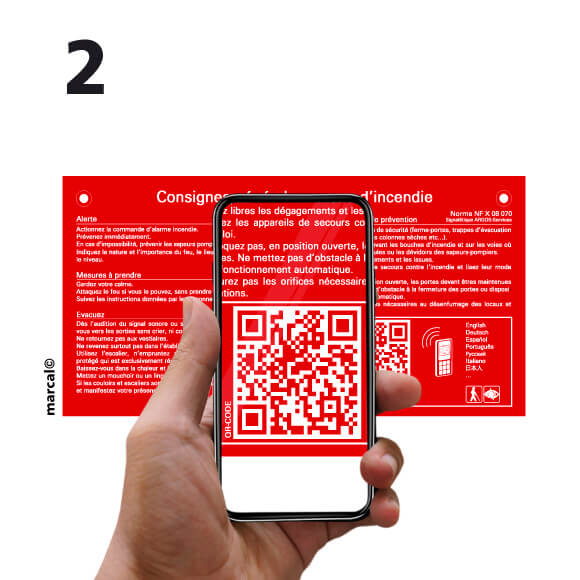 scan of the QR code to view the content of the fire safety instructions | consign© marcal