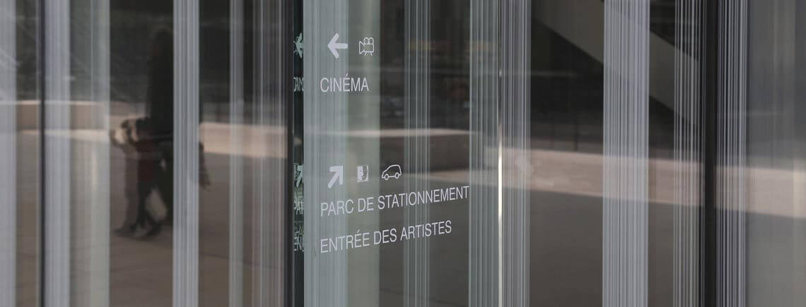marking film over tempered glass monolith | île© marcal