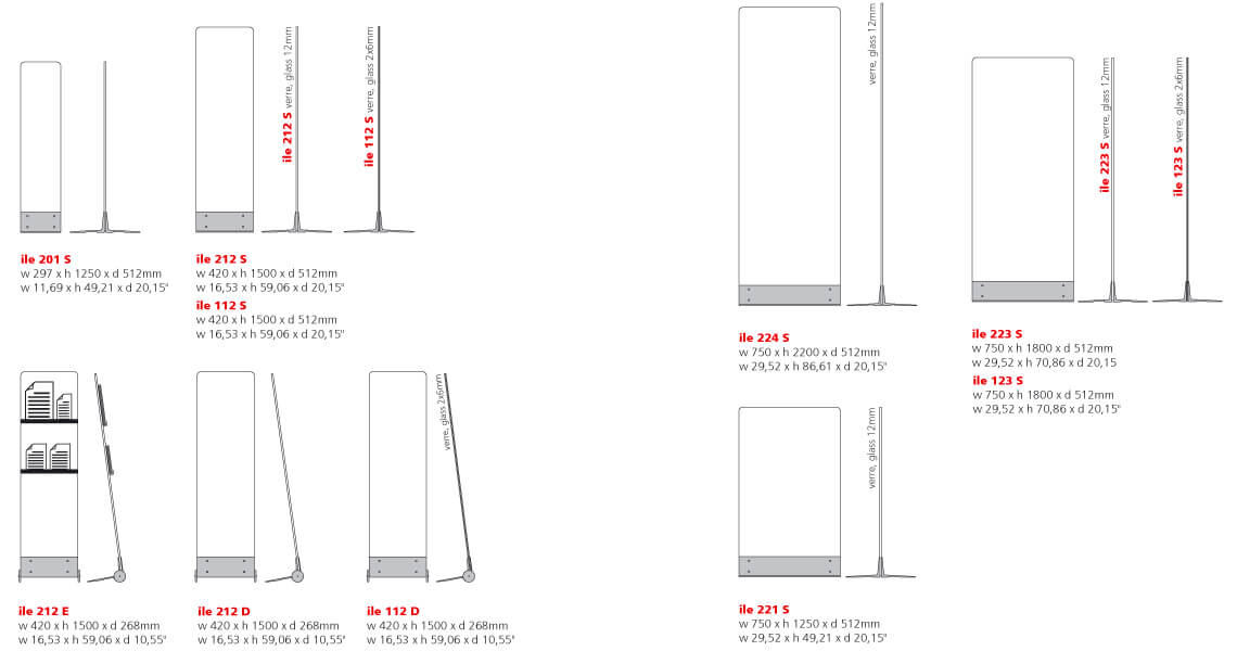 sizes and dimensions of free-standing signage totems made in tempered glass and aluminum | île© marcal