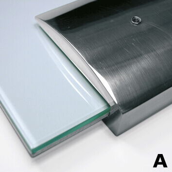 door plate made in tempered glass with aluminum wall supports| opalescent© marcal