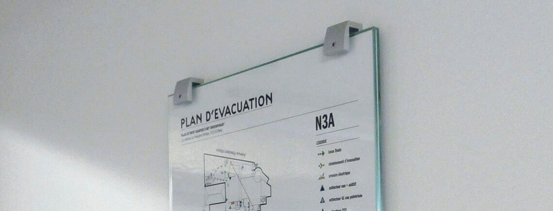 evacuation map for fire event made in tempered glass and aluminum stylish standoff brackets | opalescent© marcal