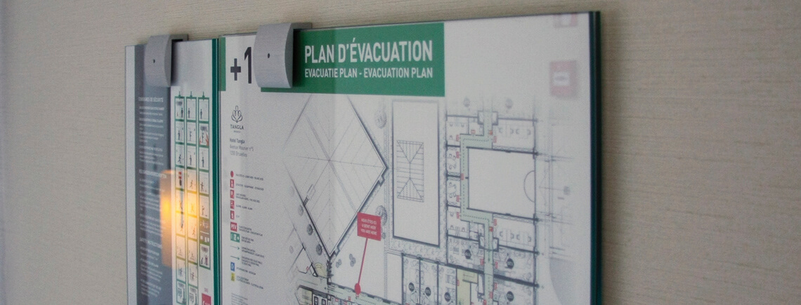 evacuation map and safety regulations in A3 and A4 sizes | opalescent© marcal