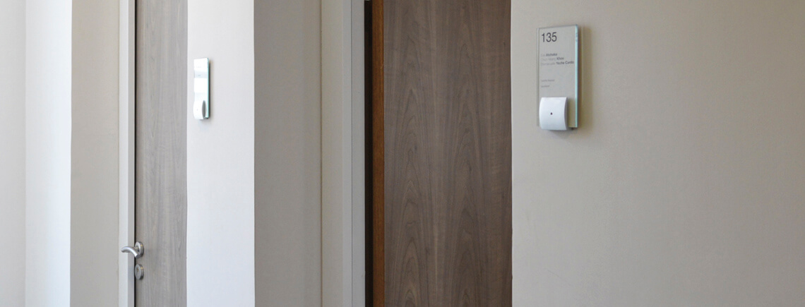 office door signage with number and bracket wall-mounted grip | opalescent© marcal