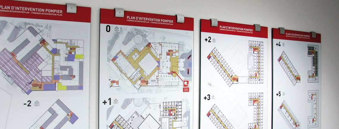 set of evacuation maps, in A1 format, with aluminum standoff sign bracket | opalescent© marcal