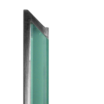design of a signage profile in tempered glass and aluminum, viewed from the side | pile-ou-face© marcal