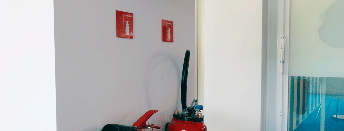 fire extinguisher sign on painted plates and silk screen printed pictogram | sécurité© marcal